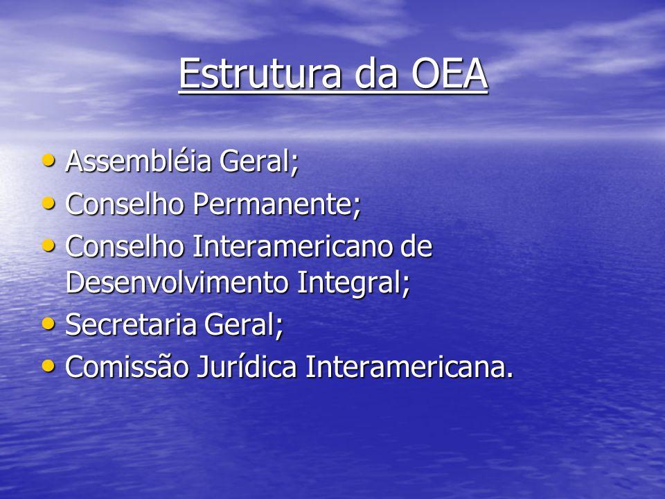 Estrutura da OEA Assembléia Geral; Conselho Permanente;
