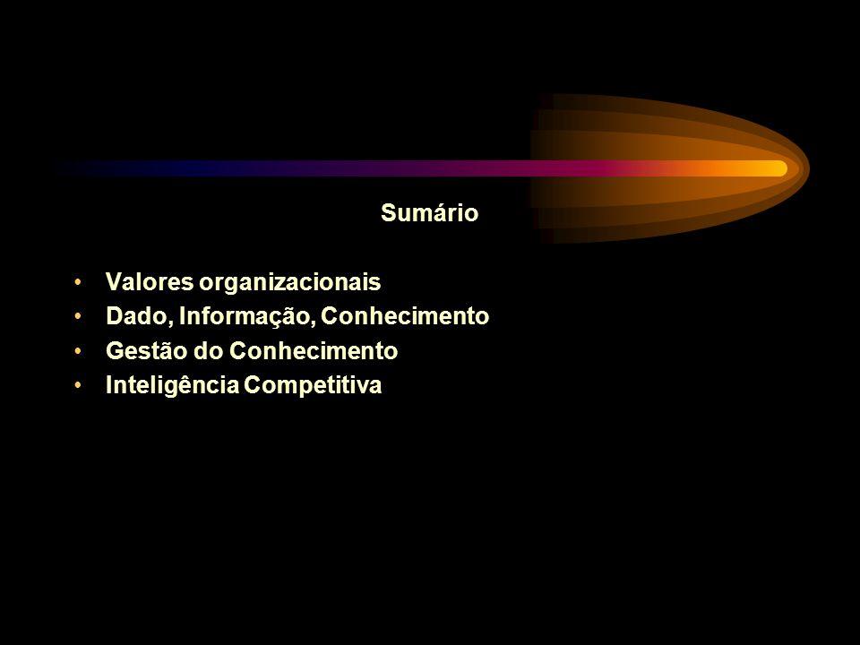 Sumário Valores organizacionais. Dado, Informação, Conhecimento.