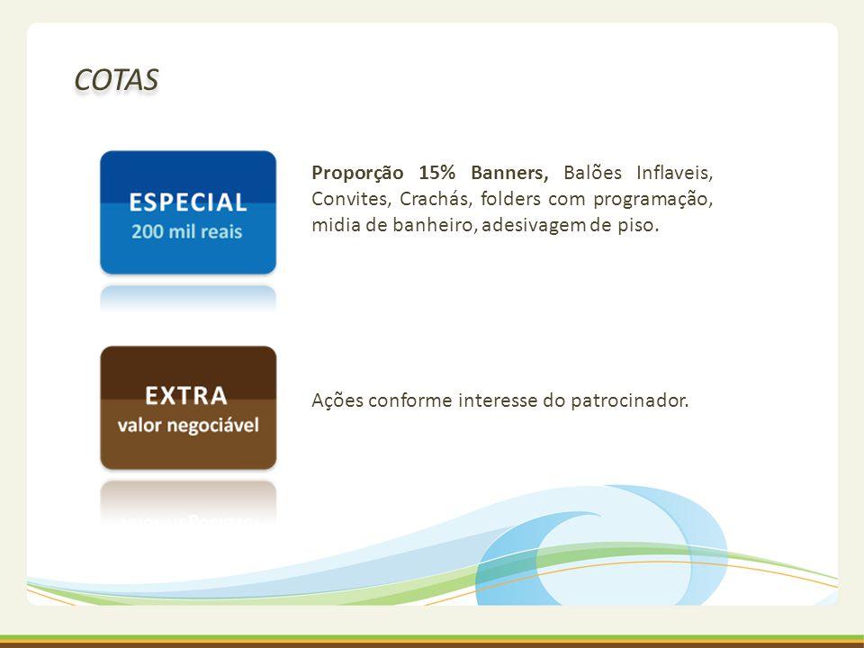 COTAS Proporção 15% Banners, Balões Inflaveis, Convites, Crachás, folders com programação, midia de banheiro, adesivagem de piso.