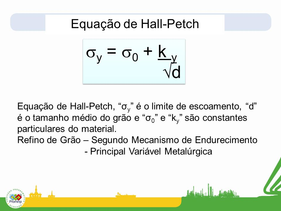 y = 0 + k y d Equação de Hall-Petch