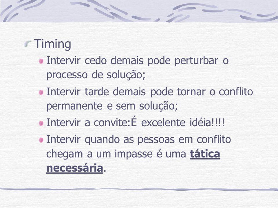 Timing Intervir cedo demais pode perturbar o processo de solução;