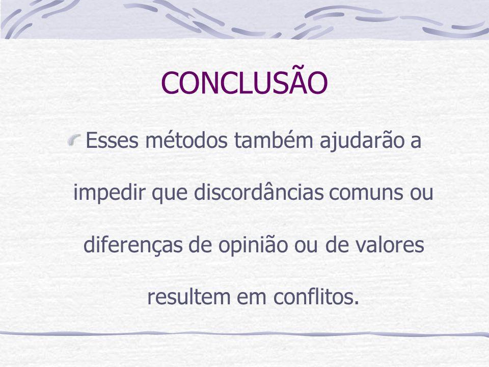 CONCLUSÃO Esses métodos também ajudarão a impedir que discordâncias comuns ou diferenças de opinião ou de valores resultem em conflitos.