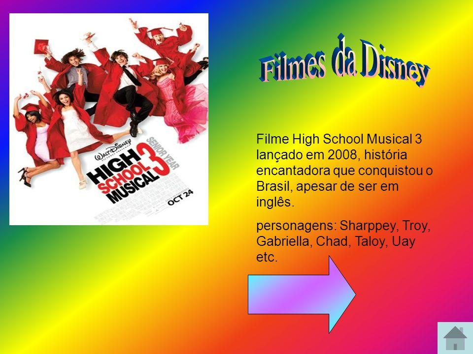 Filmes da Disney Filme High School Musical 3 lançado em 2008, história encantadora que conquistou o Brasil, apesar de ser em inglês.