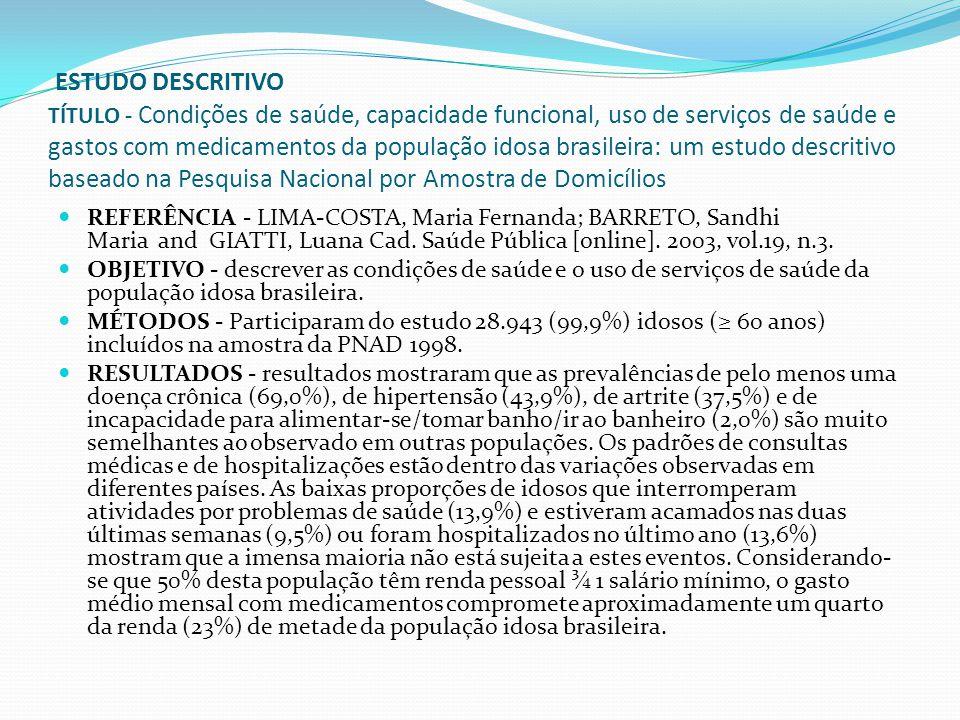 ESTUDO DESCRITIVO TÍTULO - Condições de saúde, capacidade funcional, uso de serviços de saúde e gastos com medicamentos da população idosa brasileira: um estudo descritivo baseado na Pesquisa Nacional por Amostra de Domicílios