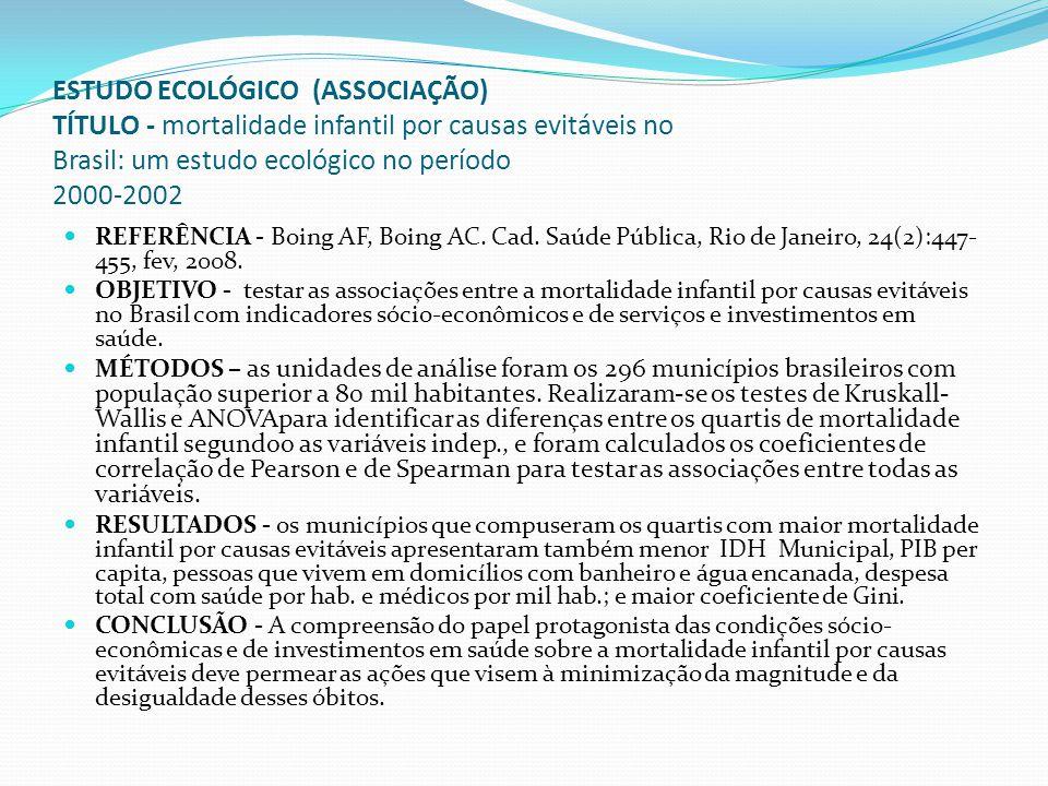 ESTUDO ECOLÓGICO (ASSOCIAÇÃO) TÍTULO - mortalidade infantil por causas evitáveis no Brasil: um estudo ecológico no período 2000-2002