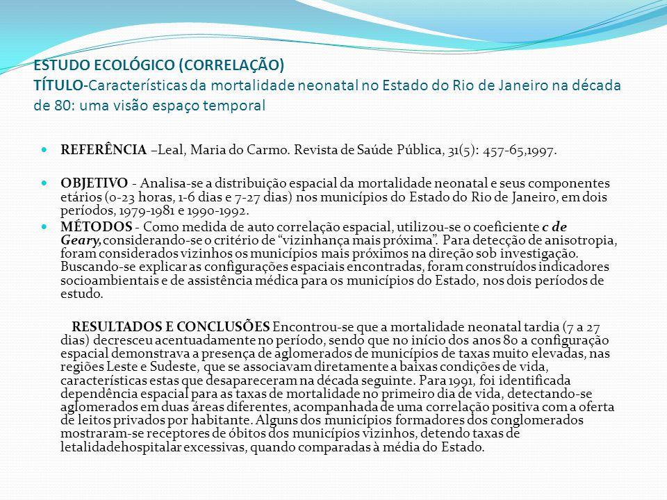 ESTUDO ECOLÓGICO (CORRELAÇÃO) TÍTULO-Características da mortalidade neonatal no Estado do Rio de Janeiro na década de 80: uma visão espaço temporal