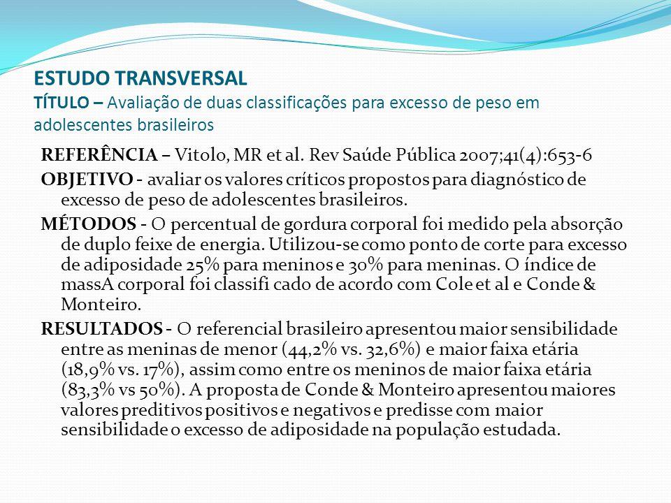 ESTUDO TRANSVERSAL TÍTULO – Avaliação de duas classificações para excesso de peso em adolescentes brasileiros