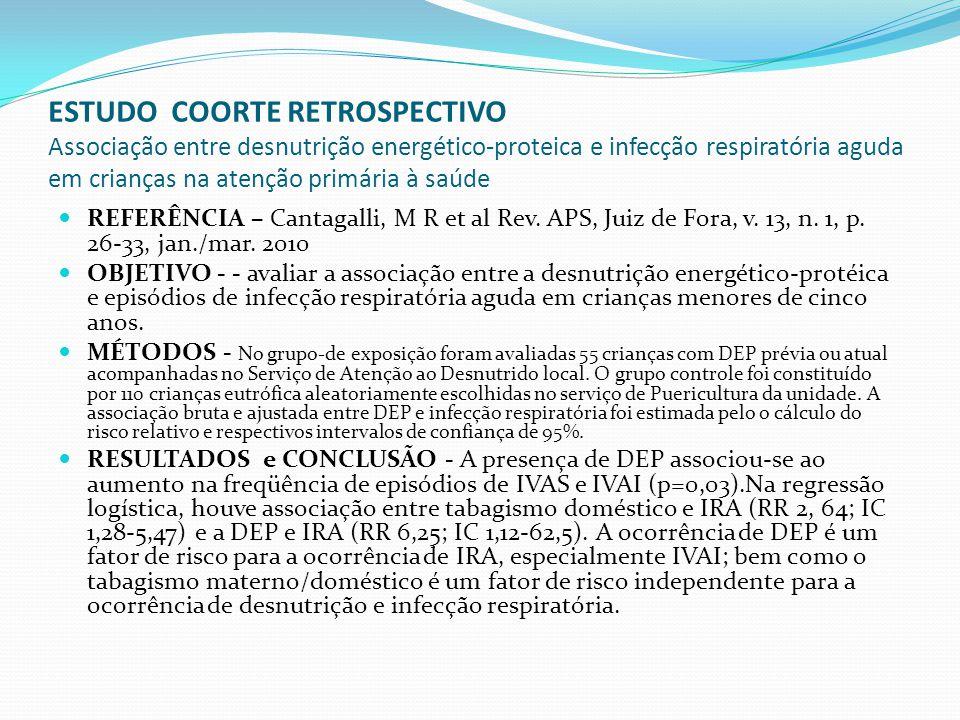 ESTUDO COORTE RETROSPECTIVO Associação entre desnutrição energético-proteica e infecção respiratória aguda em crianças na atenção primária à saúde