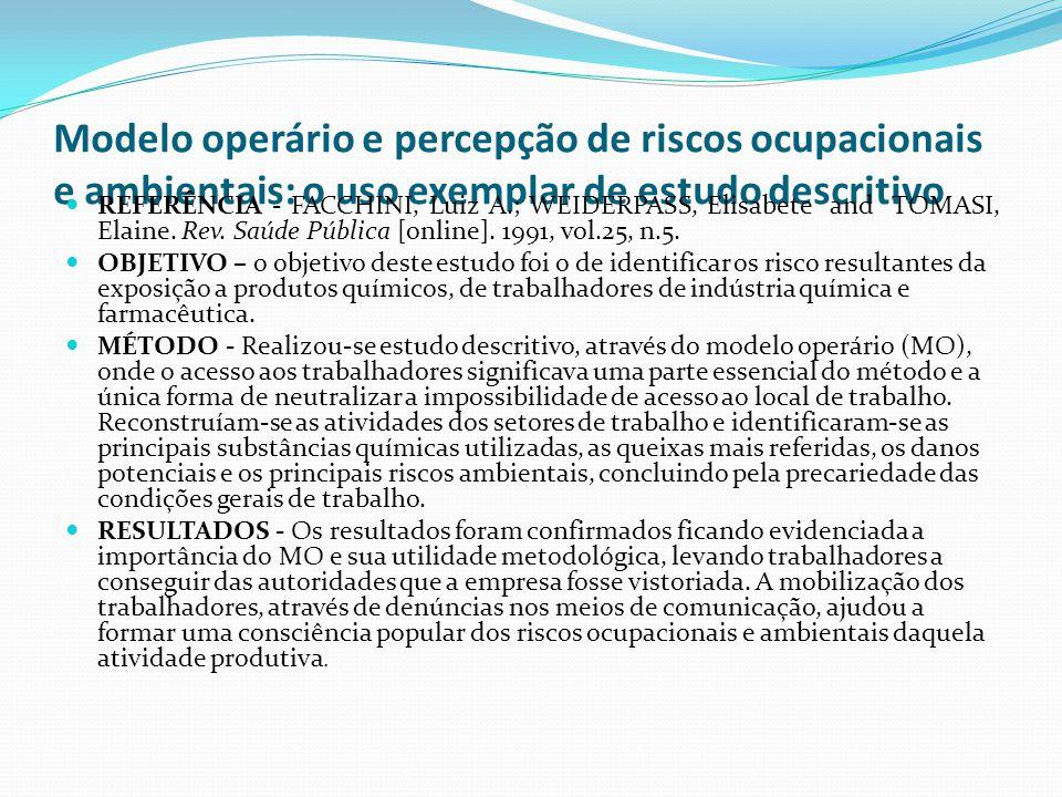 Modelo operário e percepção de riscos ocupacionais e ambientais: o uso exemplar de estudo descritivo