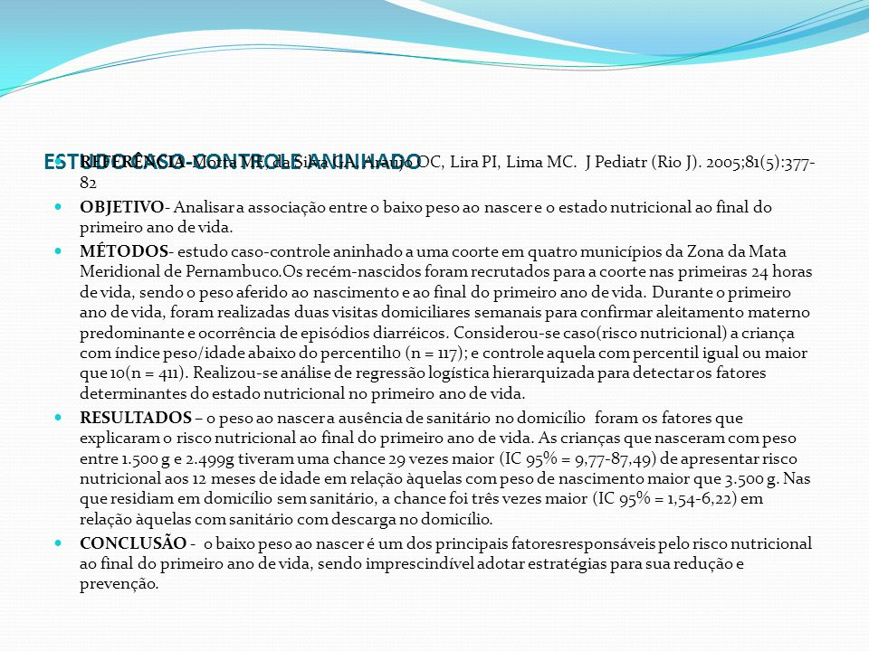 ESTUDO CASO-CONTROLE ANINHADO