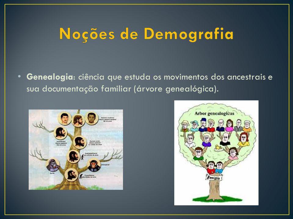 Noções de Demografia Genealogia: ciência que estuda os movimentos dos ancestrais e sua documentação familiar (árvore genealógica).