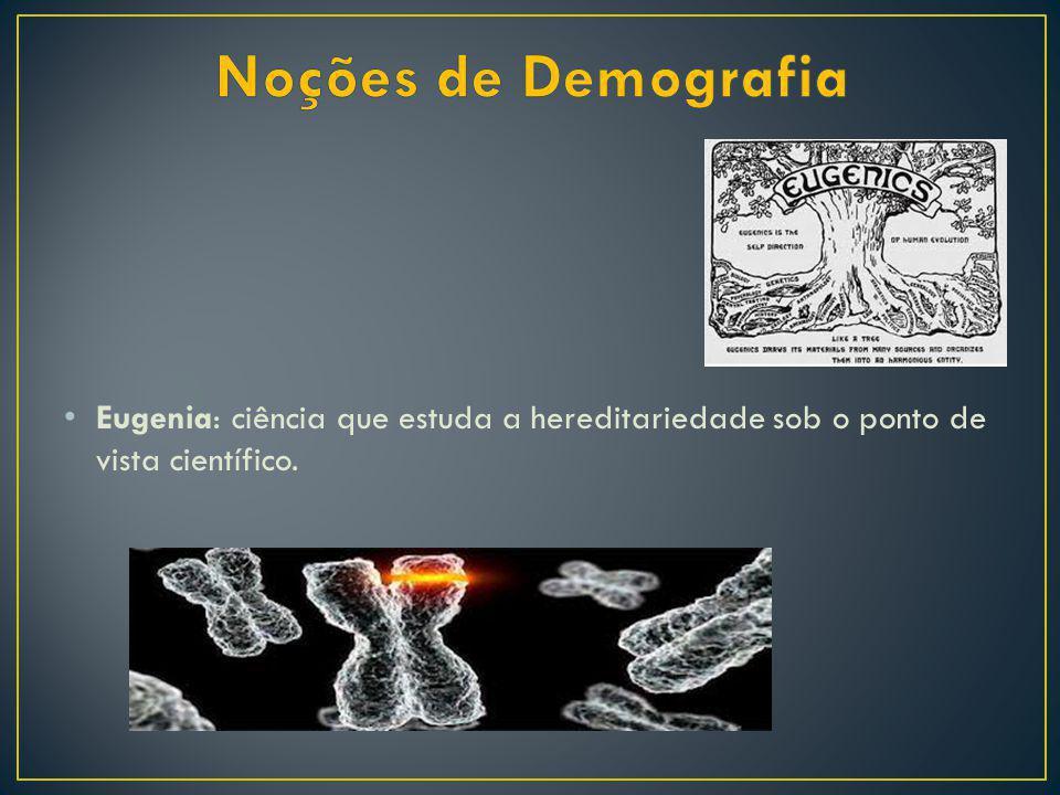 Noções de Demografia Eugenia: ciência que estuda a hereditariedade sob o ponto de vista científico.