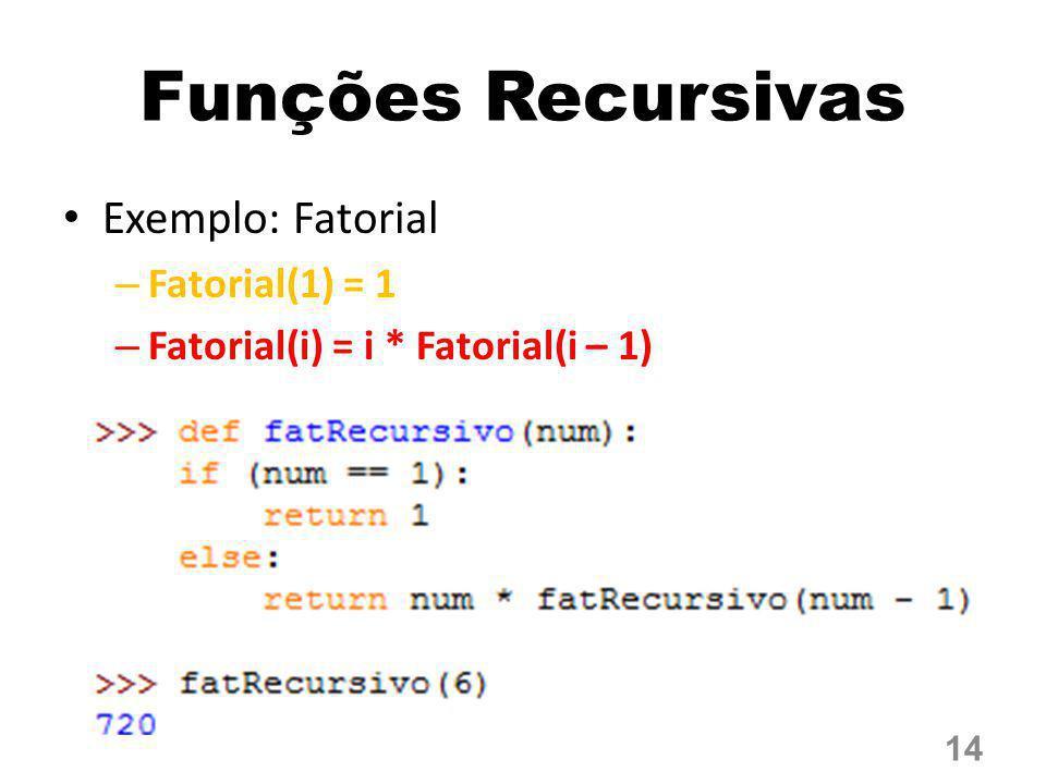Funções Recursivas Exemplo: Fatorial Fatorial(1) = 1