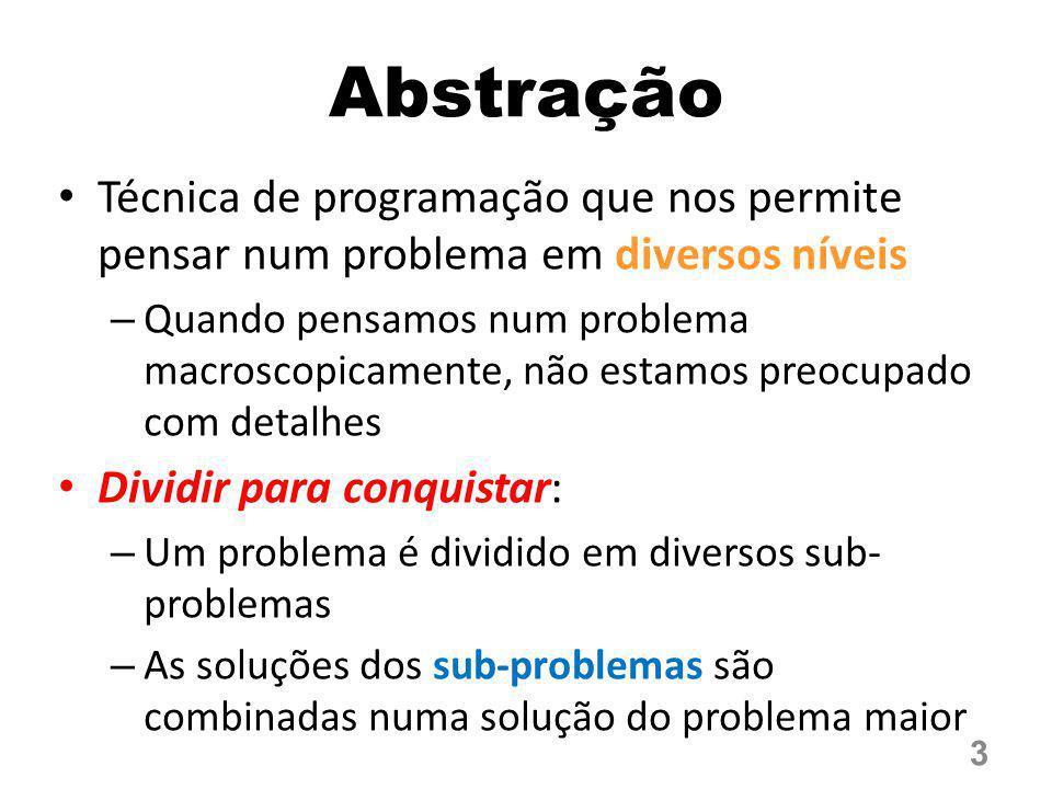 Abstração Técnica de programação que nos permite pensar num problema em diversos níveis.