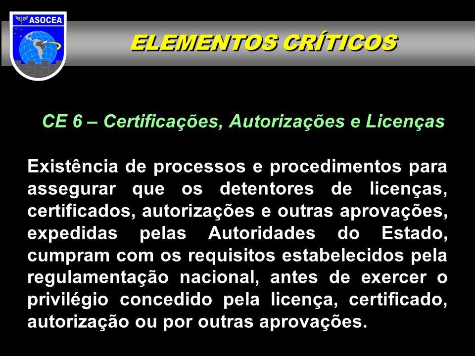 CE 6 – Certificações, Autorizações e Licenças