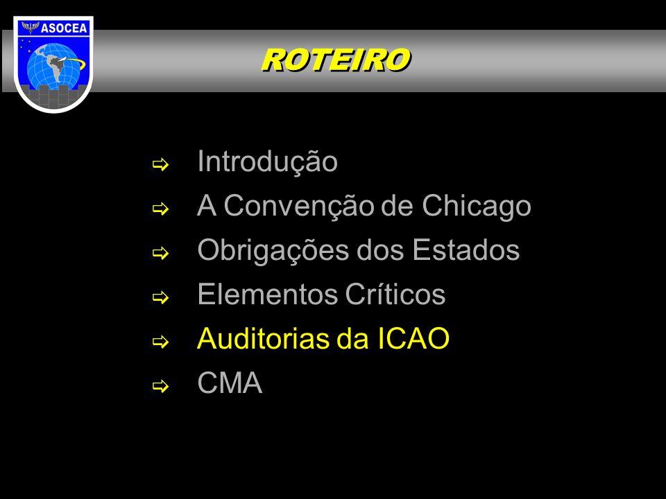 ROTEIRO Introdução. A Convenção de Chicago. Obrigações dos Estados. Elementos Críticos. Auditorias da ICAO.
