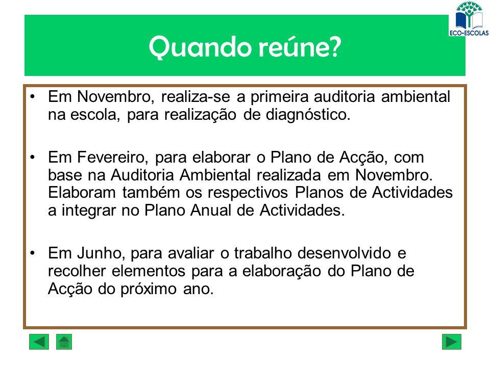 Quando reúne Em Novembro, realiza-se a primeira auditoria ambiental na escola, para realização de diagnóstico.