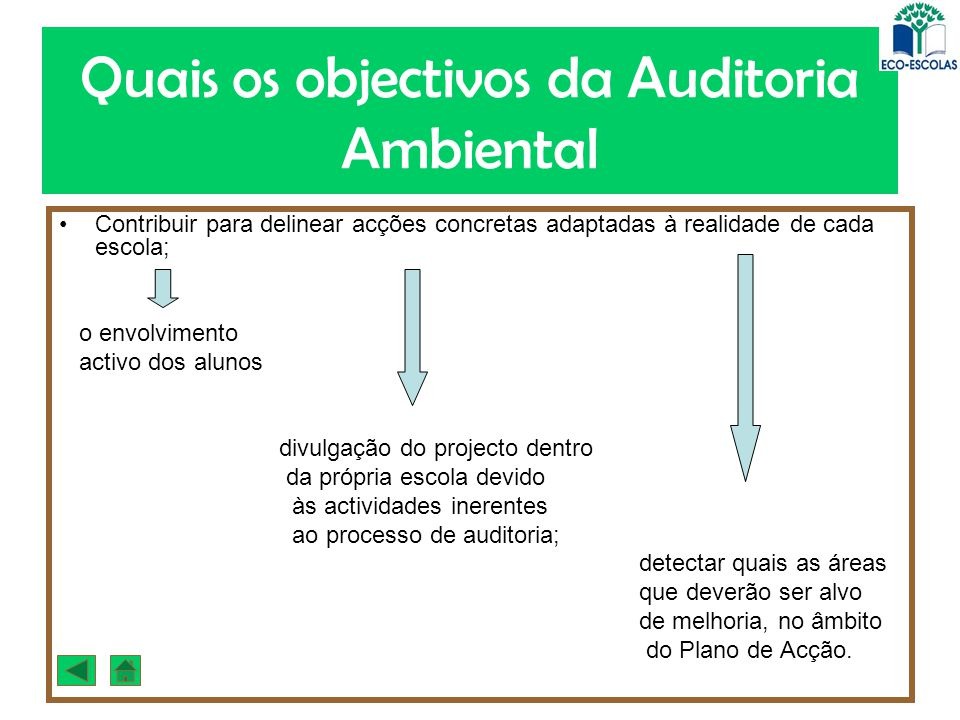 Quais os objectivos da Auditoria Ambiental