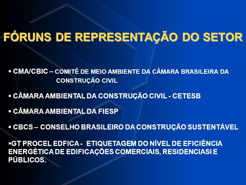 FÓRUNS DE REPRESENTAÇÃO DO SETOR