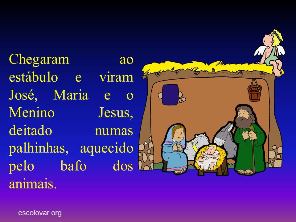 Chegaram ao estábulo e viram José, Maria e o Menino Jesus, deitado numas palhinhas, aquecido pelo bafo dos animais.