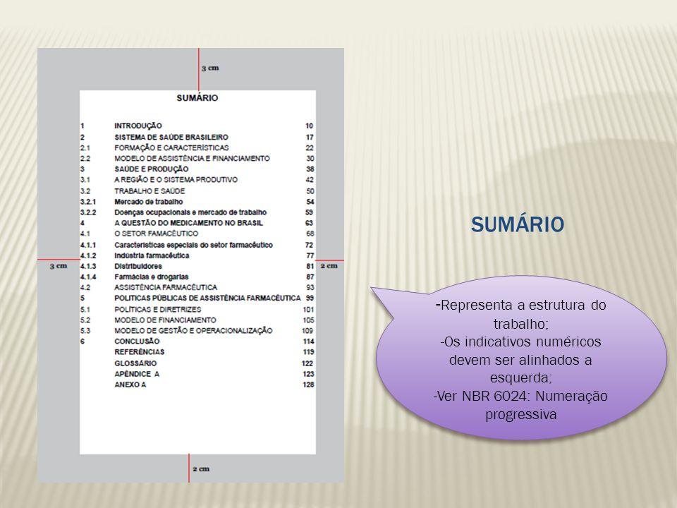 SUMÁRIO -Representa a estrutura do trabalho;