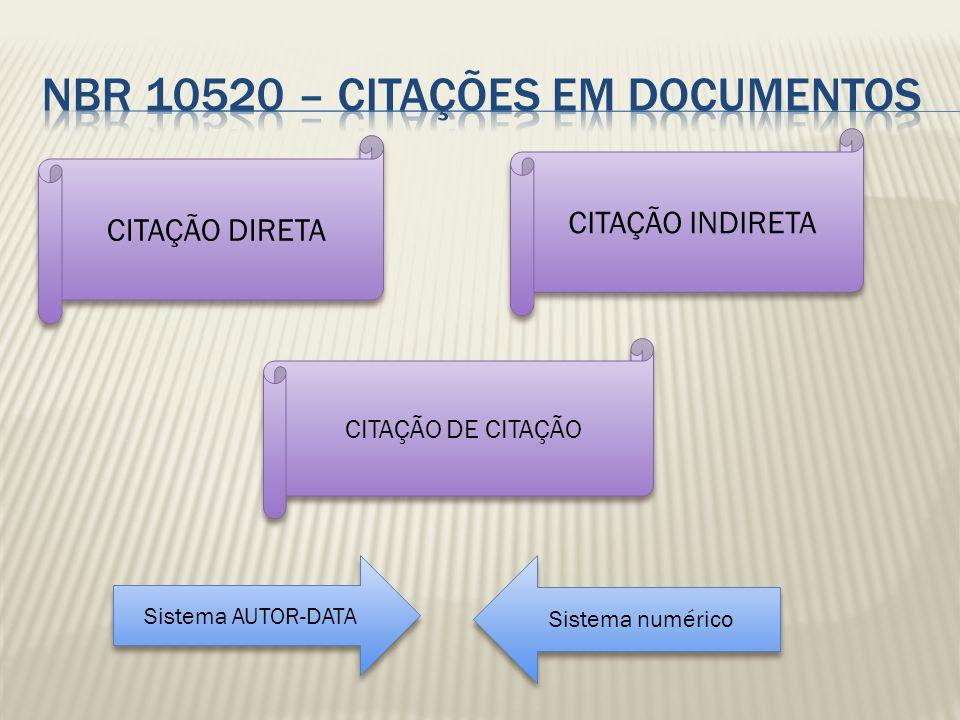 NBR 10520 – CITAÇÕES EM DOCUMENTOS
