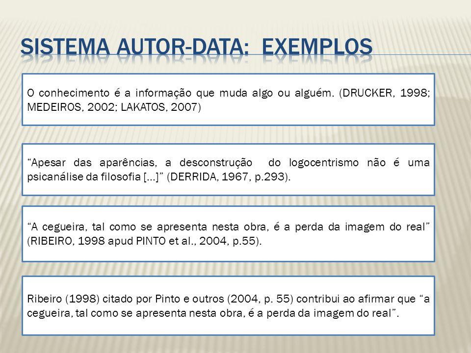 Sistema autor-data: EXEMPLOS
