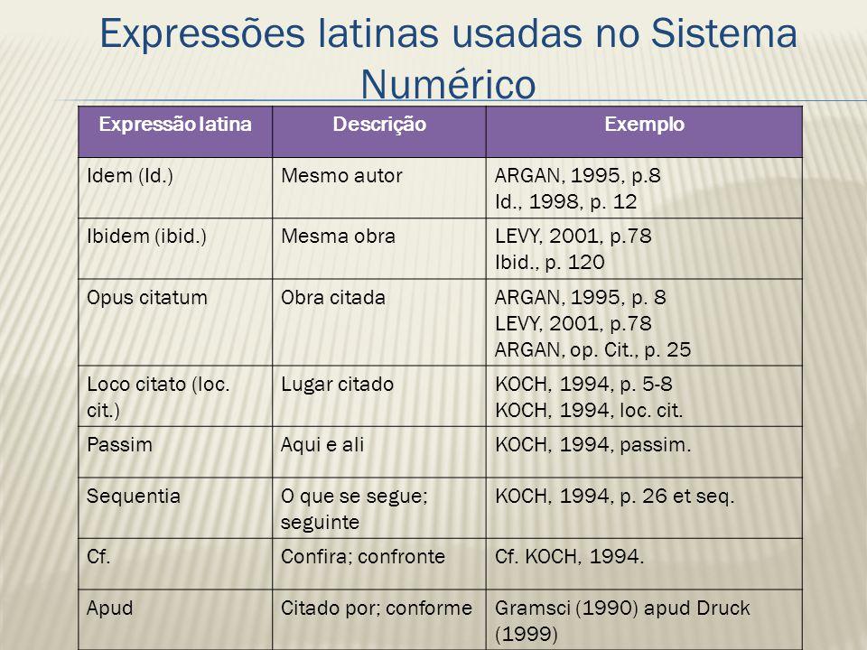 Expressões latinas usadas no Sistema Numérico