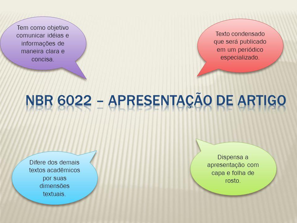 Nbr 6022 – apresentação de artigo