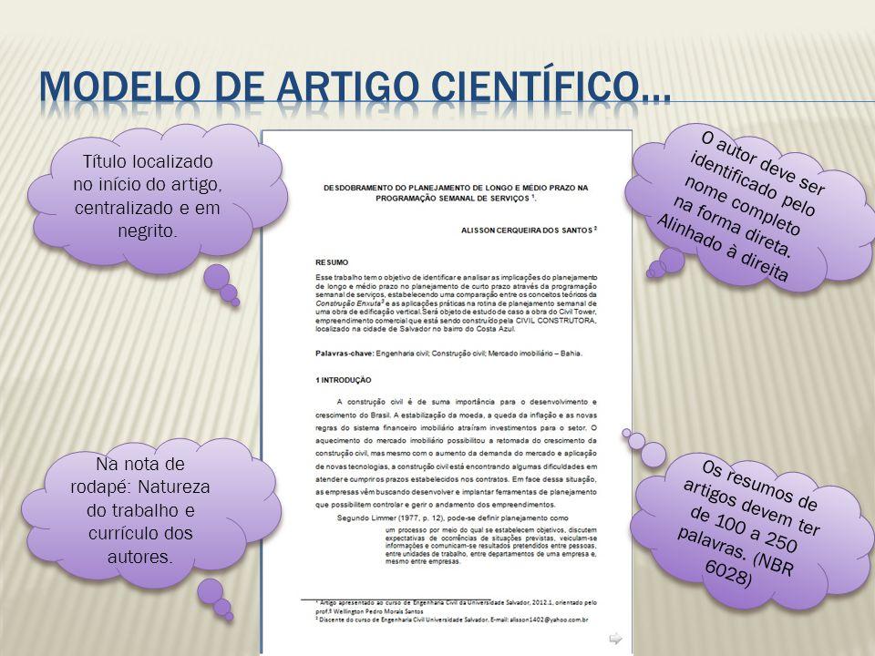 MODELO DE ARTIGO CIENTÍFICO...