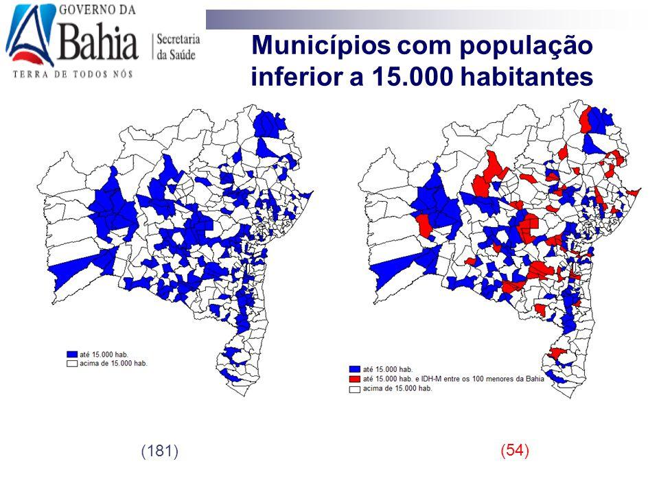 Municípios com população inferior a 15.000 habitantes