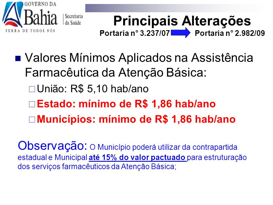 Principais Alterações Portaria n° 3.237/07 Portaria n° 2.982/09