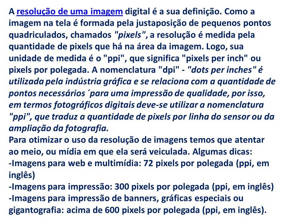 A resolução de uma imagem digital é a sua definição