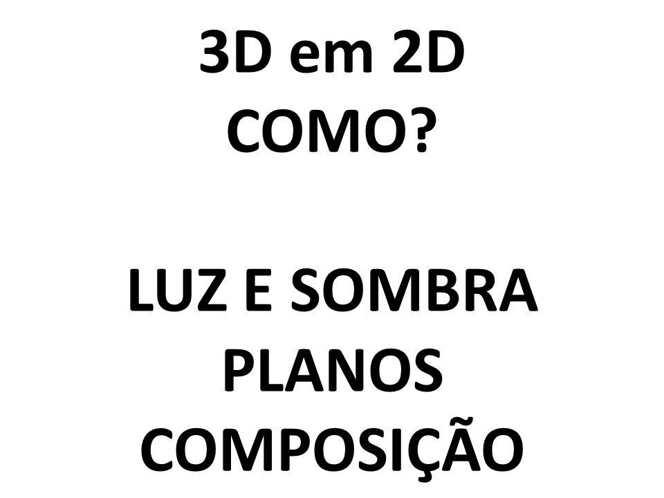 3D em 2D COMO LUZ E SOMBRA PLANOS COMPOSIÇÃO