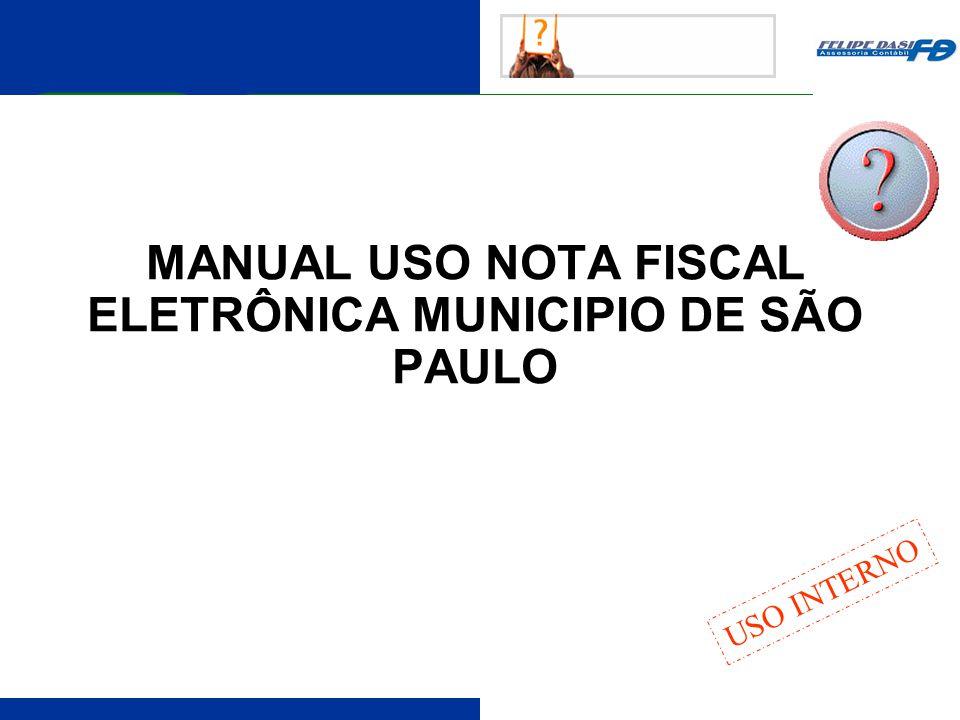 MANUAL USO NOTA FISCAL ELETRÔNICA MUNICIPIO DE SÃO PAULO
