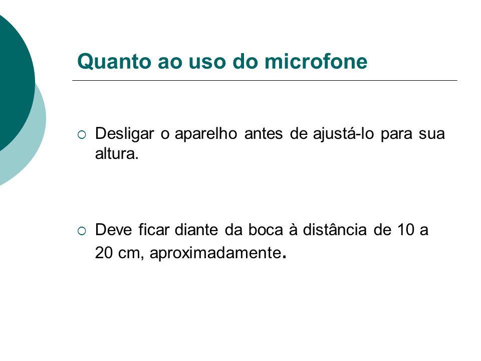 Quanto ao uso do microfone