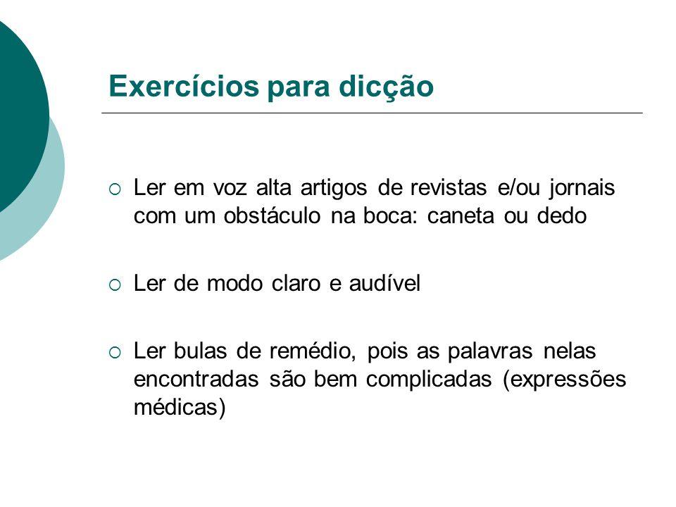 Exercícios para dicção