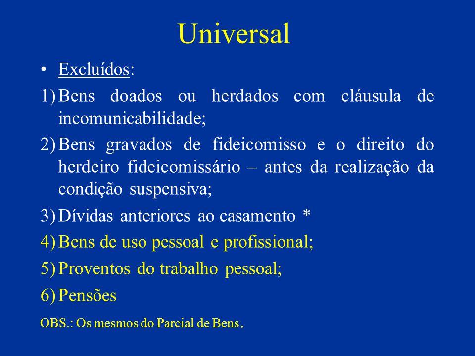 Universal Excluídos: Bens doados ou herdados com cláusula de incomunicabilidade;