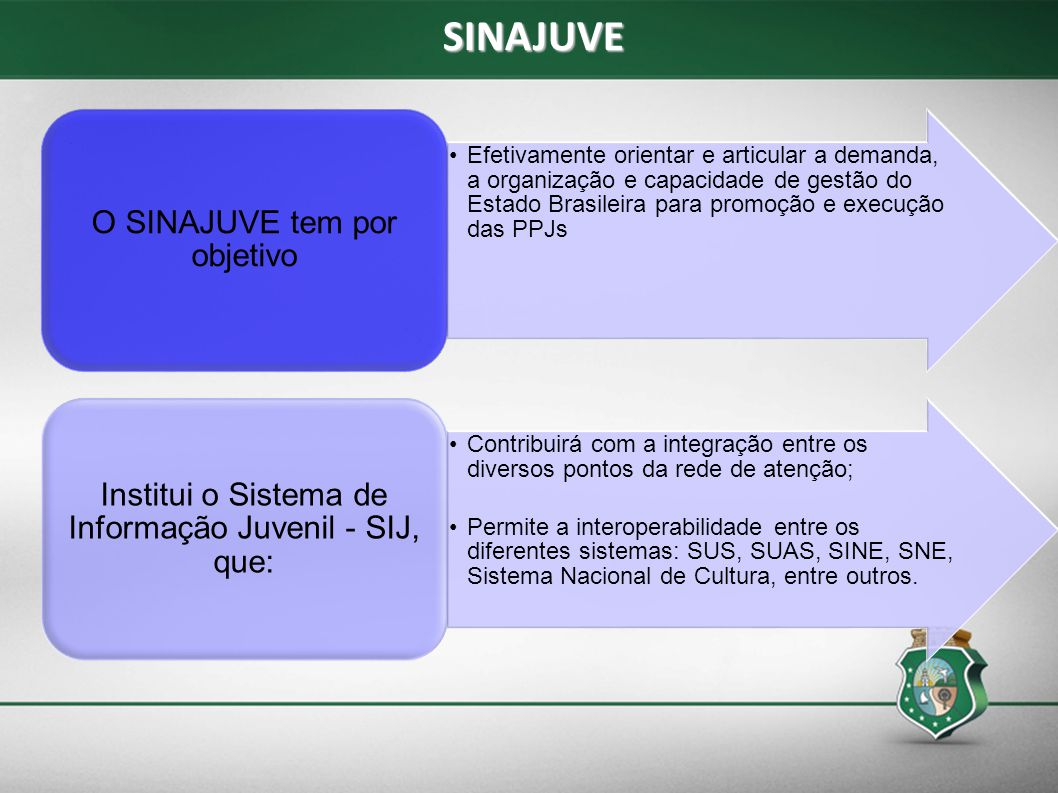 SINAJUVE Institui o Sistema de Informação Juvenil - SIJ, que:
