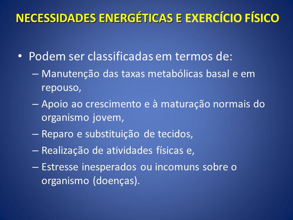 NECESSIDADES ENERGÉTICAS E EXERCÍCIO FÍSICO