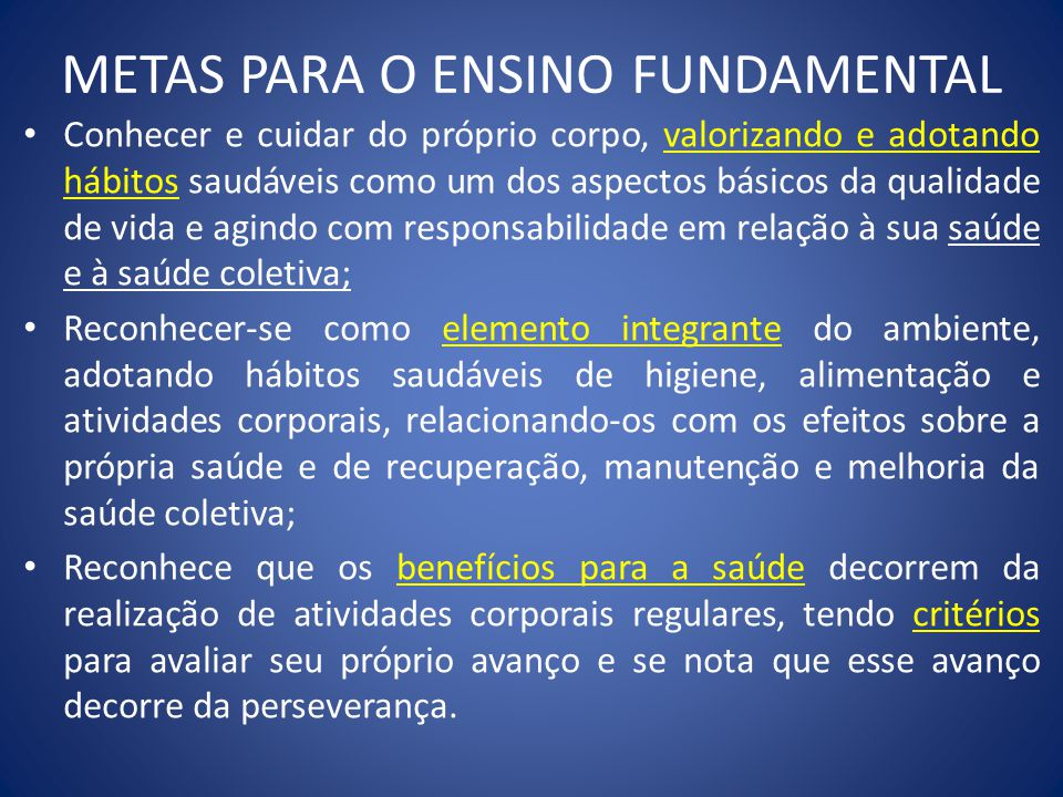 METAS PARA O ENSINO FUNDAMENTAL