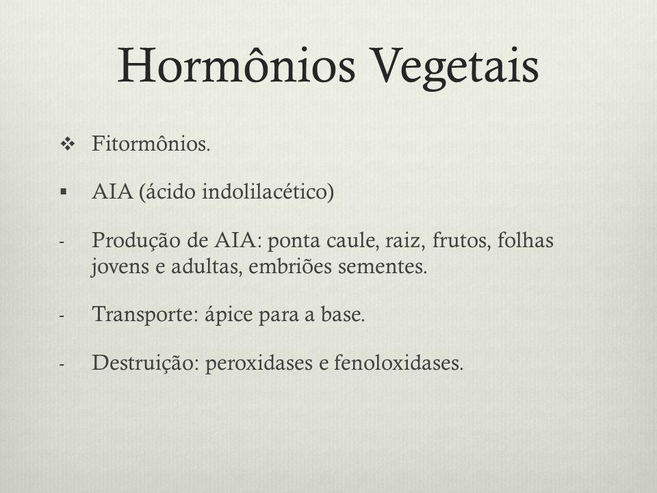 Hormônios Vegetais Fitormônios. AIA (ácido indolilacético)