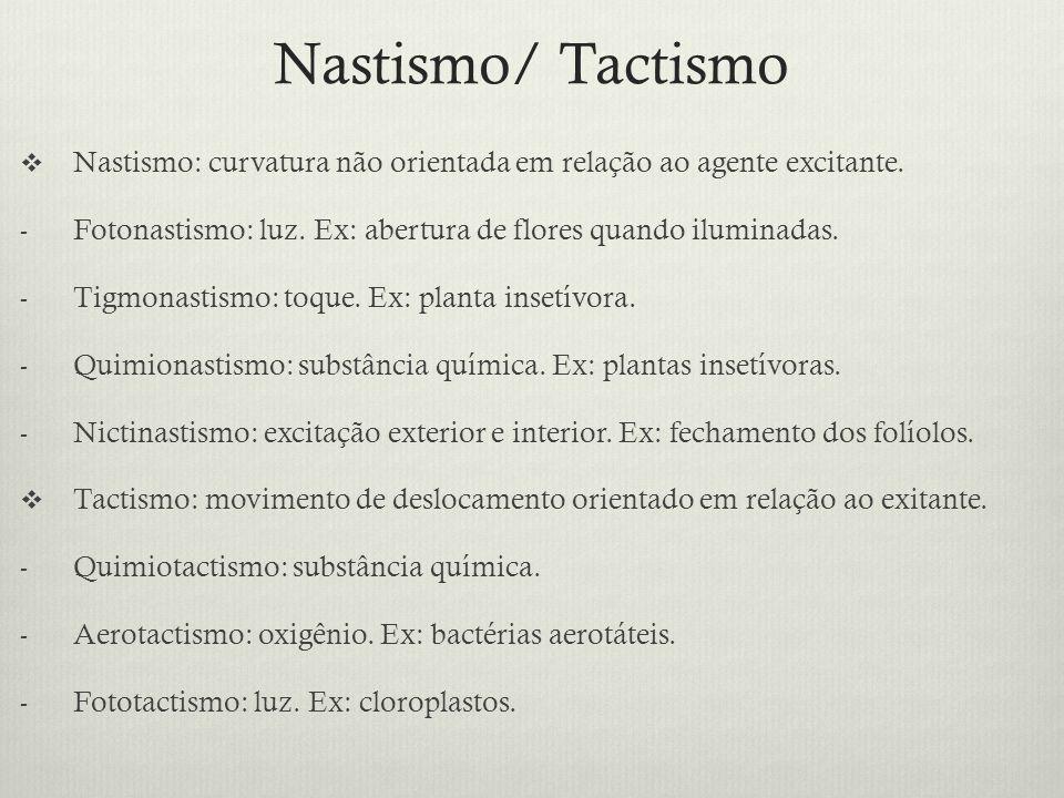 Nastismo/ Tactismo Nastismo: curvatura não orientada em relação ao agente excitante. Fotonastismo: luz. Ex: abertura de flores quando iluminadas.