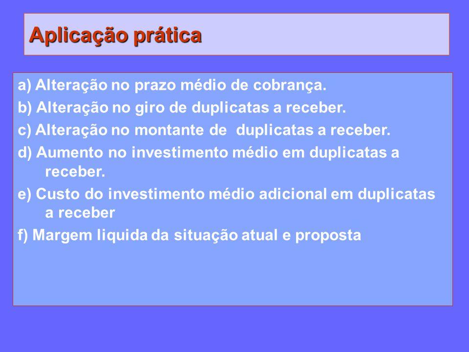 Aplicação prática a) Alteração no prazo médio de cobrança.