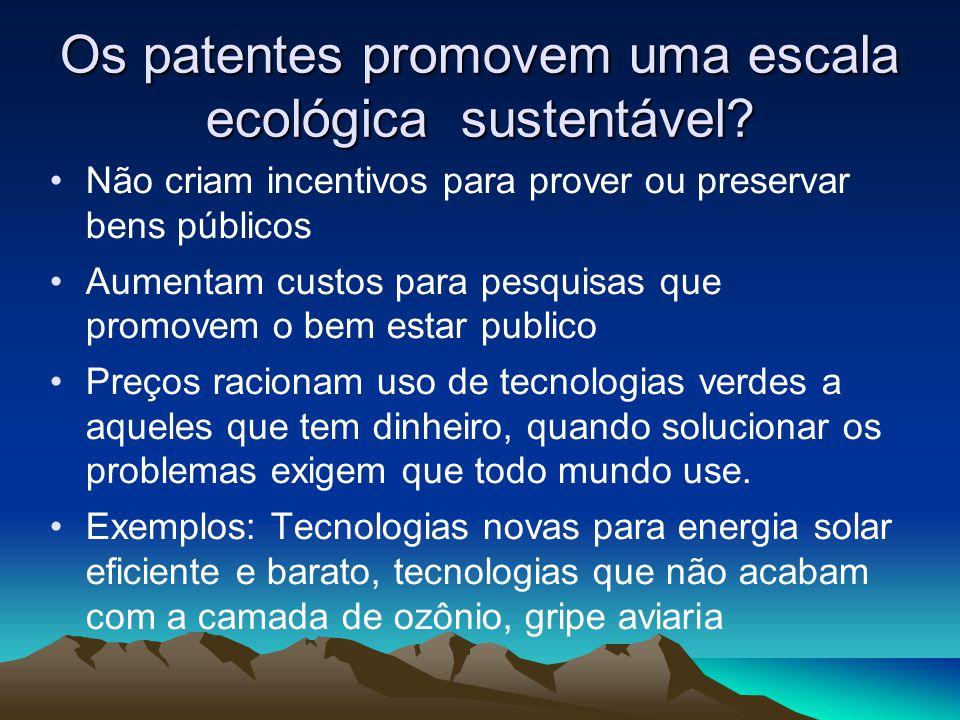 Os patentes promovem uma escala ecológica sustentável