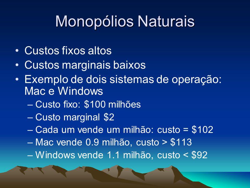 Monopólios Naturais Custos fixos altos Custos marginais baixos