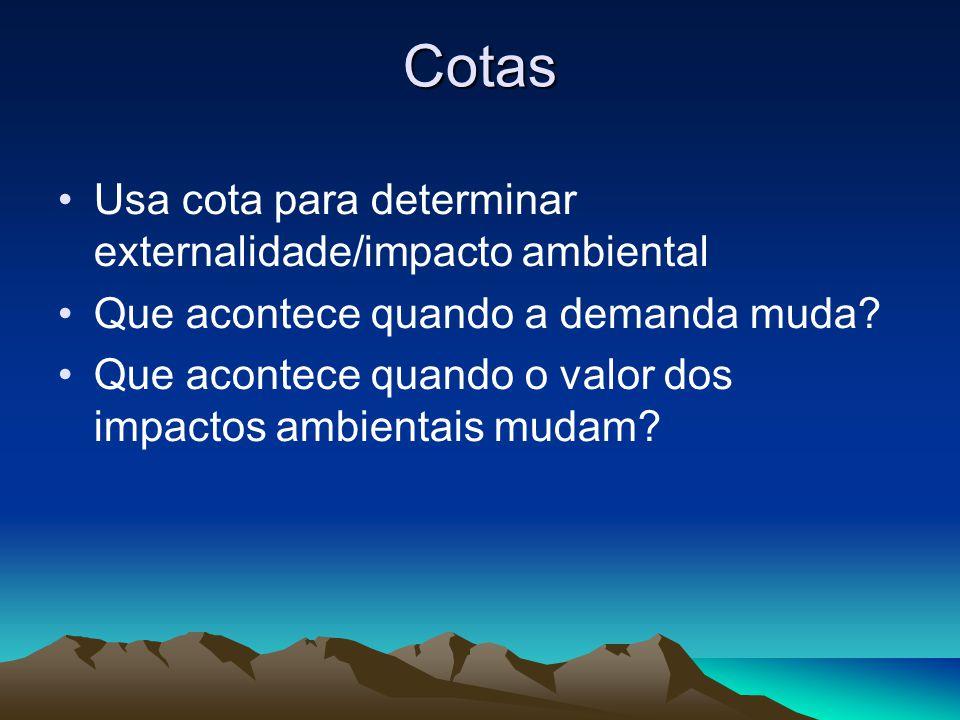 Cotas Usa cota para determinar externalidade/impacto ambiental