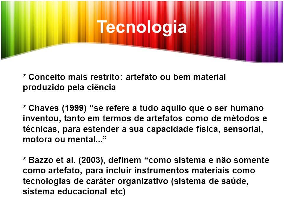Tecnologia * Conceito mais restrito: artefato ou bem material produzido pela ciência.