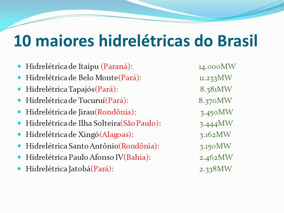 10 maiores hidrelétricas do Brasil