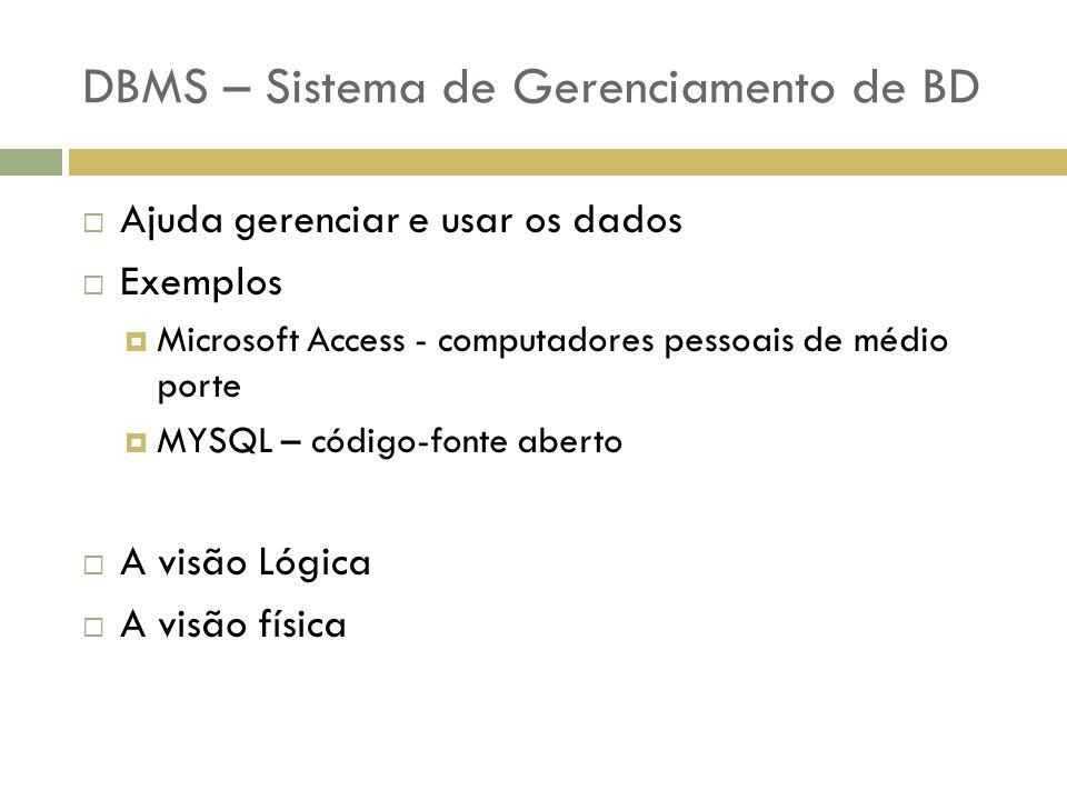 DBMS – Sistema de Gerenciamento de BD